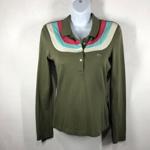 Lacoste green long sleeve polo size 36
